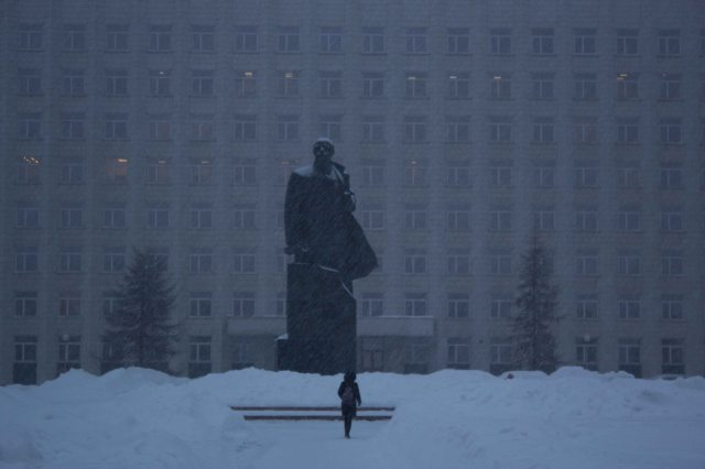Lenin on the main square in Arkhangelsk